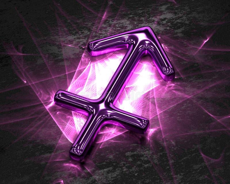 Tecken av zodiaken i rosa färgmetall med caustics - Skytten vektor illustrationer