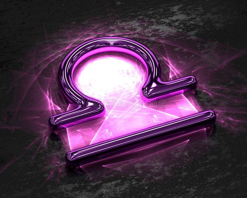 Tecken av zodiaken i rosa färgmetall med caustics - Våg stock illustrationer