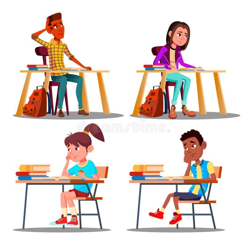 Tecken borrade elever under fastställd vektor för kurs stock illustrationer
