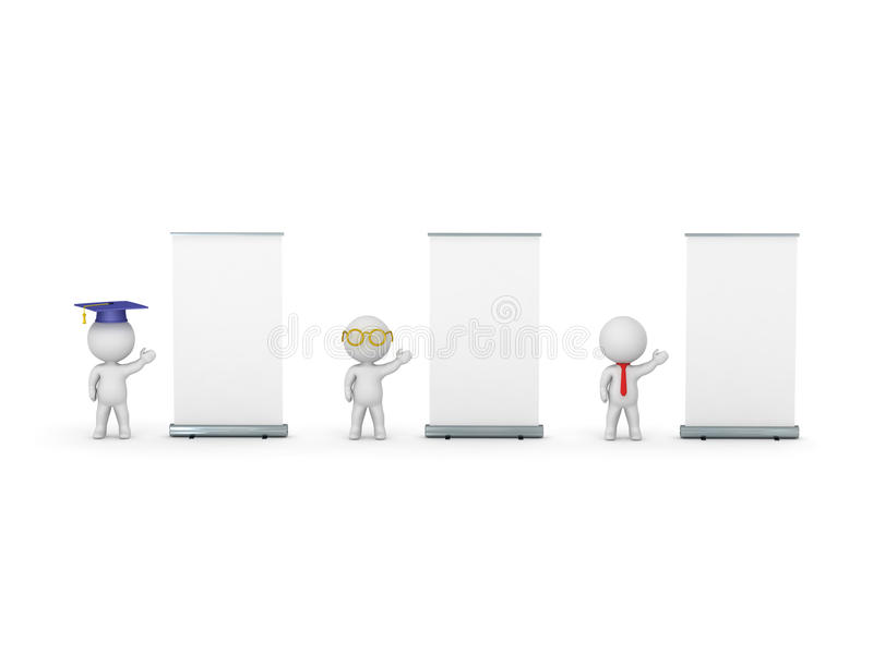 tecken 3D av kandidaten, läraren och Affär-mannen som annonserar deras presentationer royaltyfri illustrationer