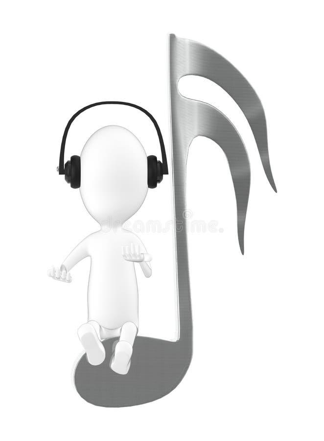 tecken 3d, bärande headphone för man och sitta på en musikalisk anmärkning royaltyfri illustrationer
