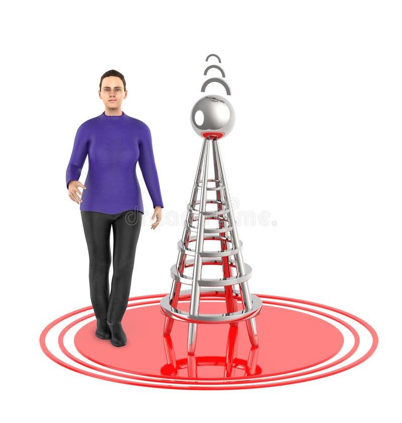 tecken 3d, kvinna, trådlöst torn och dess signaler stock illustrationer