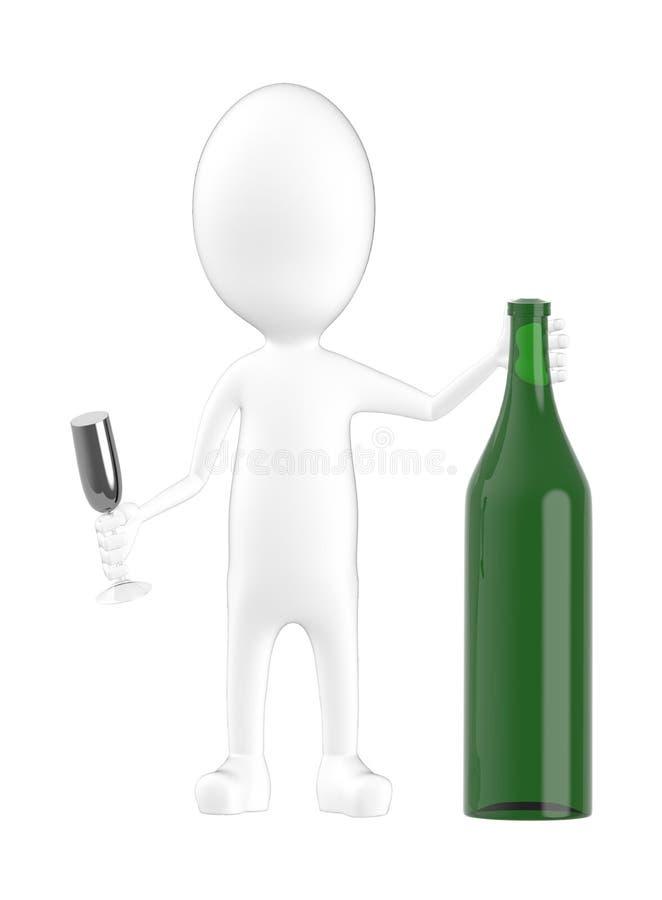 tecken 3d, man med en vinflaska och ett exponeringsglas stock illustrationer