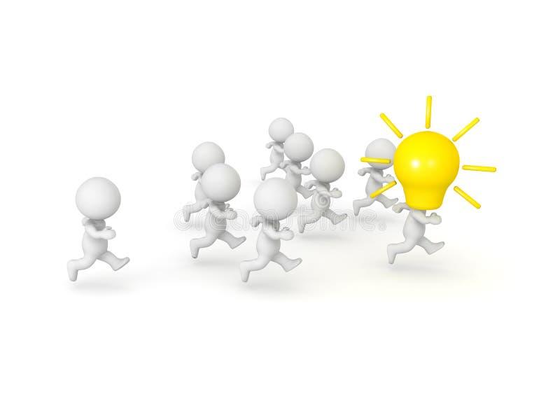 tecken 3D med den gula lightbulben på hans head leda en grupp stock illustrationer
