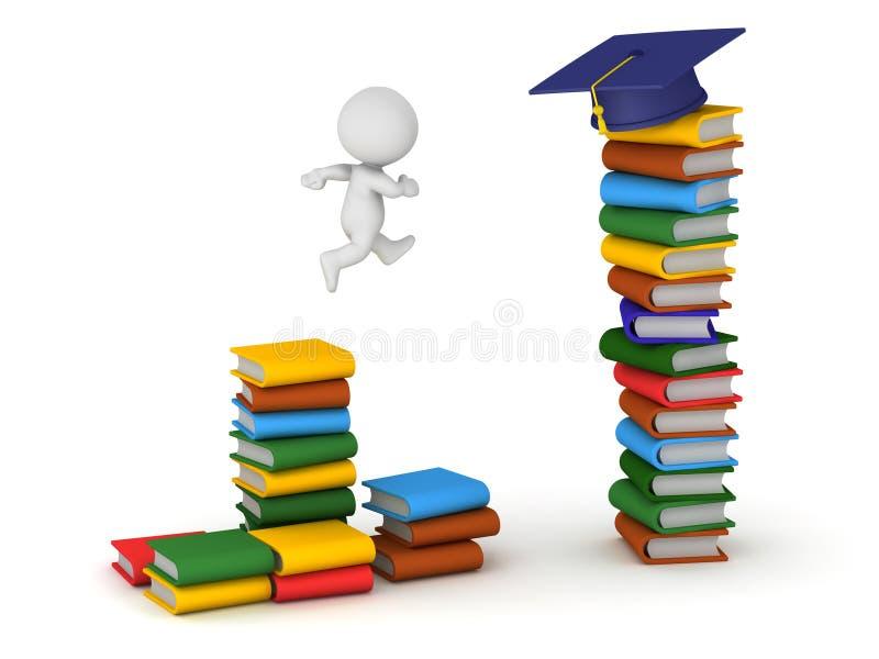 tecken 3D med färgrika böcker och avläggande av examenhatten stock illustrationer