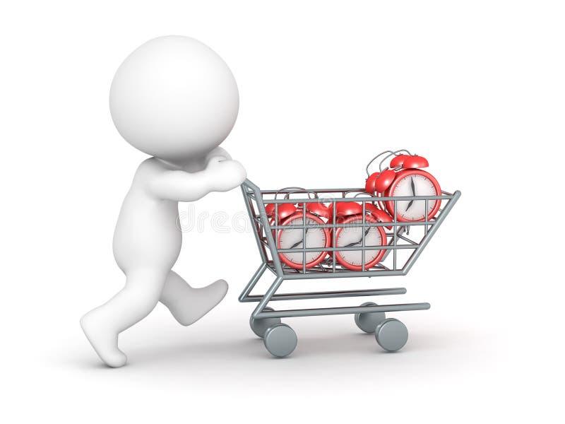 tecken 3D med ringklockor för köpande för shoppingvagn stock illustrationer