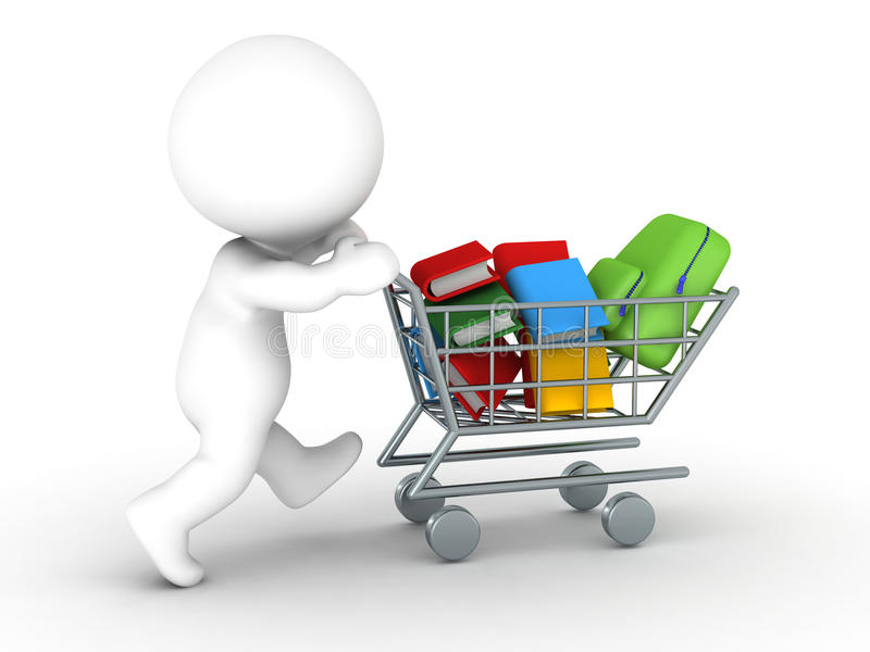 tecken 3D med shoppingvagnen med böcker och skolapåsen - tillbaka till skolashoppingbegreppet royaltyfri illustrationer