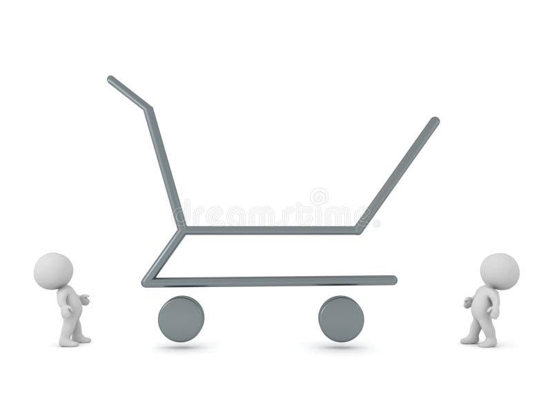 tecken 3D och stor översikt för shoppingvagn royaltyfri illustrationer