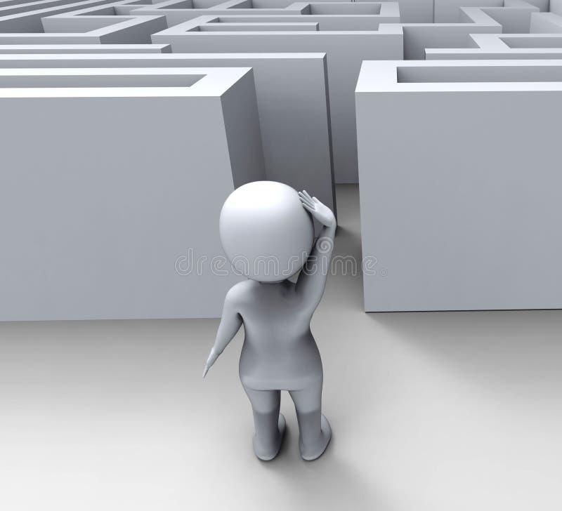 tecken 3d på Maze Shows Challenge Or Confused stock illustrationer