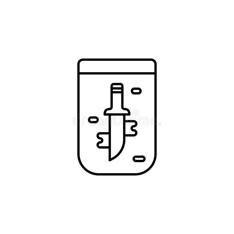 Tecken dolk, rättvisasymbol Beståndsdel av lag- och rättvisasymbolen Tunn linje symbol för websitedesignen och utveckling, app royaltyfri illustrationer