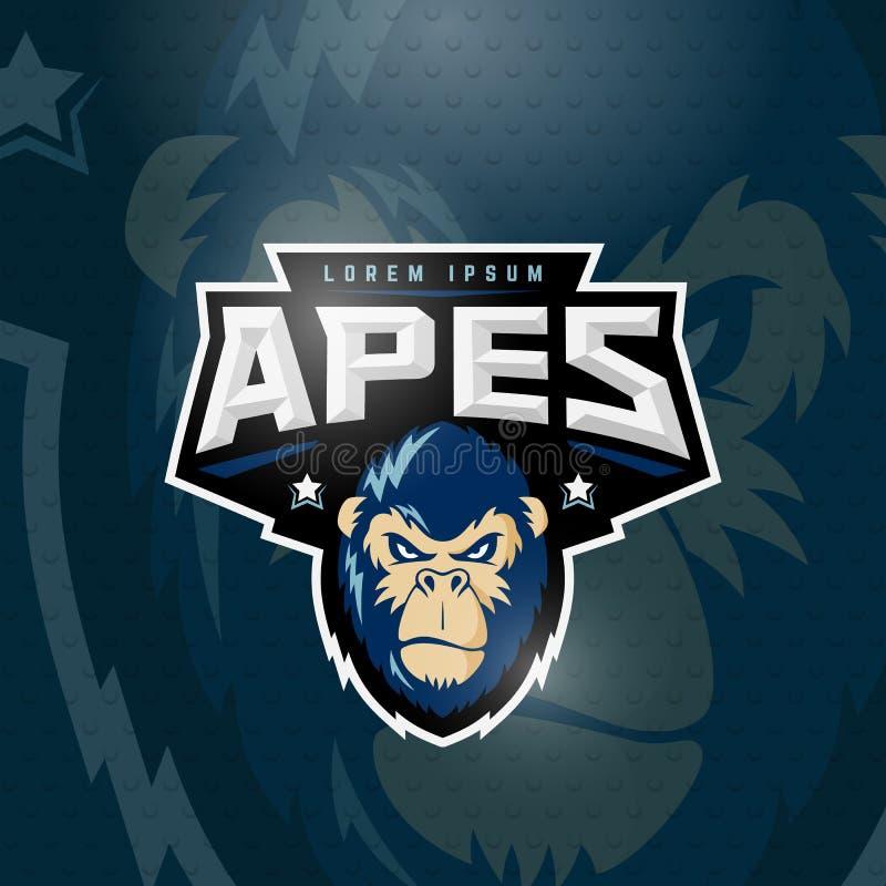 Tecken, emblem eller Logo Template för vektor för sportapor abstrakt Sport Team Mascot Label Ilskna Gorilla Face med typografi royaltyfri illustrationer