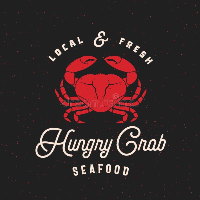 Tecken, etikett eller Logo Template för lokal ny skaldjurabstrakt begreppvektor Retro Krabba Sillhouette med tappningtypografi oc royaltyfri illustrationer