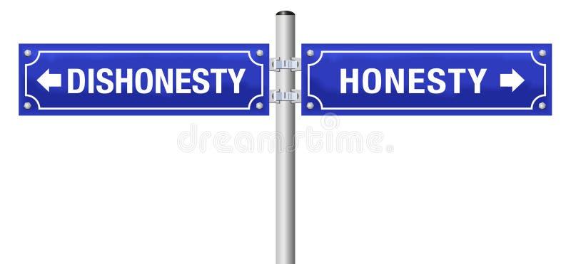 Tecken för ärlighetoärlighetgata stock illustrationer