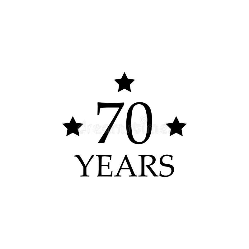tecken för 70 årsdag Beståndsdel av årsdagtecknet Högvärdig kvalitets- symbol för grafisk design Tecken och symbolsamlingssymbol  royaltyfri illustrationer