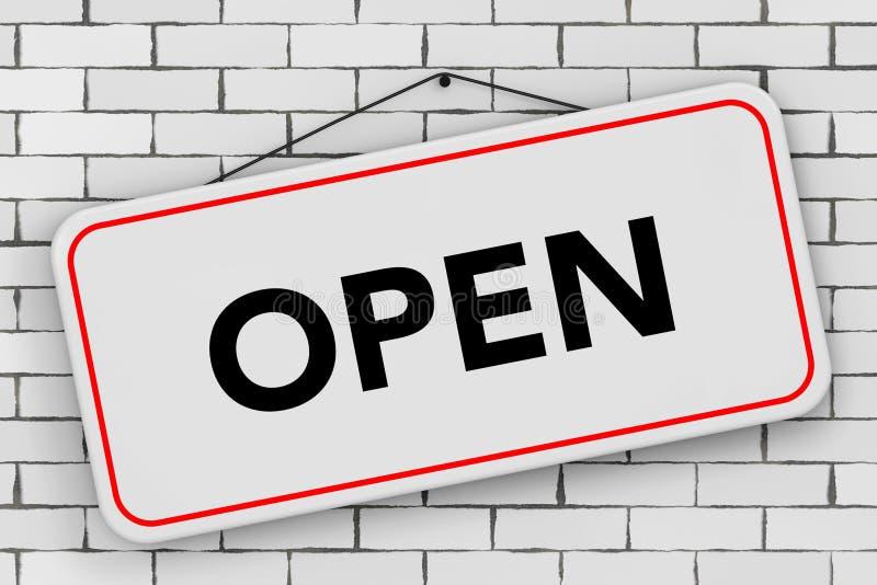 Tecken för öppen dörr som hänger på rep framförande 3d vektor illustrationer