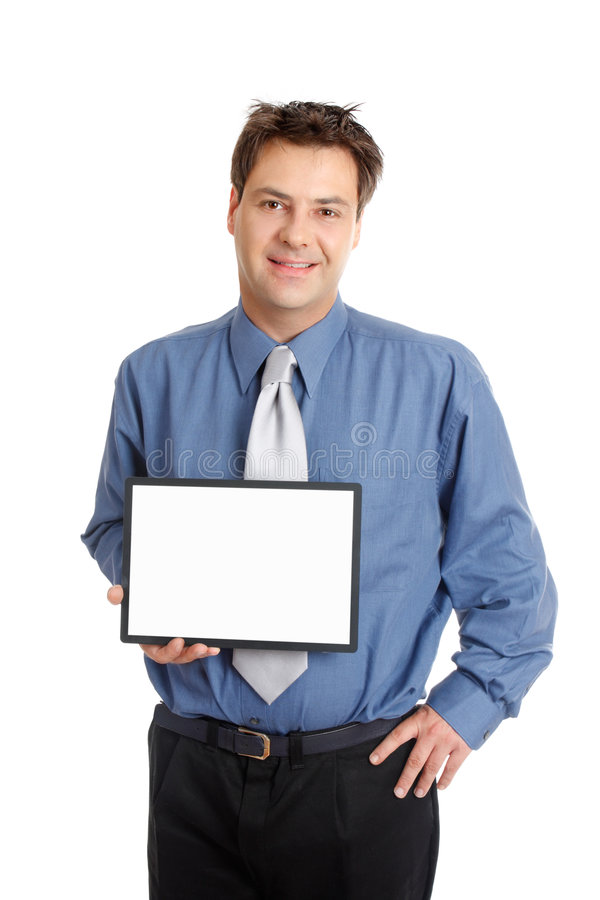 tecken för affärsmanholdingrepresentant arkivbild
