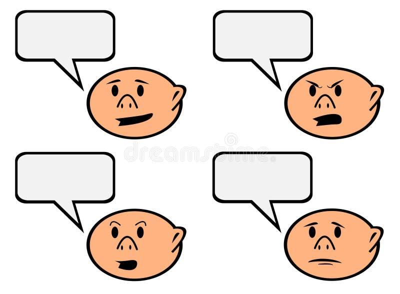 Tecken för anförandebubblatecknad film med den olika sinnesrörelsevektorn stock illustrationer