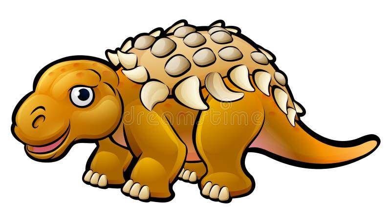 Tecken för Ankylosaurusdinosaurietecknad film royaltyfri illustrationer