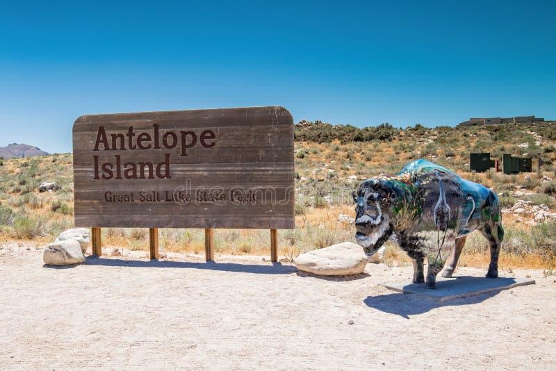 Tecken för antilopödelstatspark arkivbilder