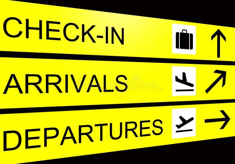 tecken för avvikelse för flygplatsankomstkontroll royaltyfri illustrationer