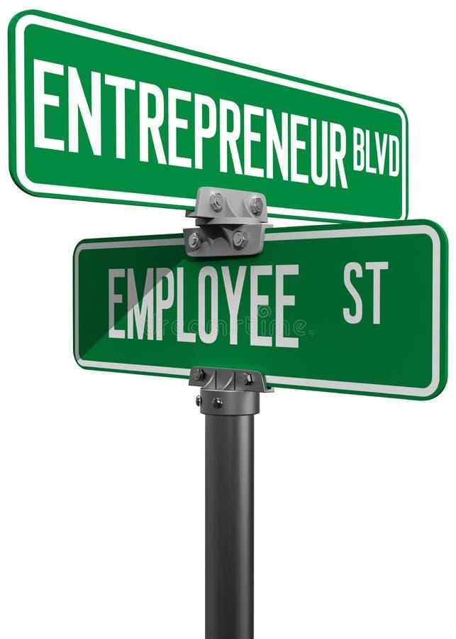 Tecken för beslut för anställdentreprenöraffär stock illustrationer
