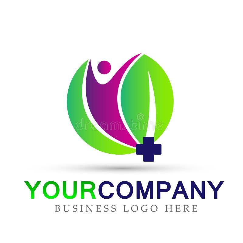 Tecken för beståndsdel för symbol för logo för begrepp för företag för hälsovård för folkblad medicinskt på vit bakgrund royaltyfri illustrationer