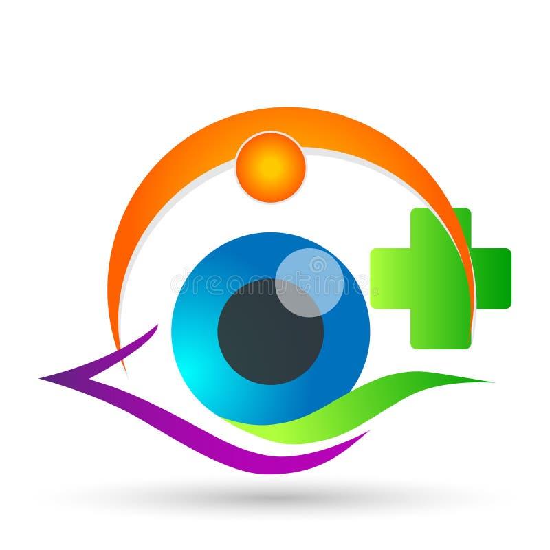 Tecken för beståndsdel för symbol för logo för begrepp för medicinsk familj för ögonomsorgjordklot vård- på vit bakgrun stock illustrationer