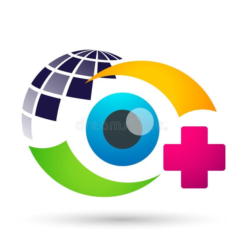 Tecken för beståndsdel för symbol för logo för begrepp för medicinsk familj för ögonomsorgjordklot vård- på vit bakgrun vektor illustrationer