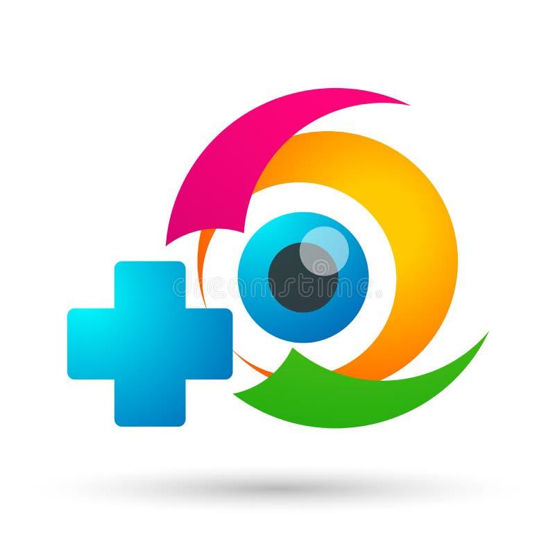 Tecken för beståndsdel för symbol för logo för begrepp för medicinsk familj för ögonomsorgjordklot vård- på vit bakgrun royaltyfri illustrationer