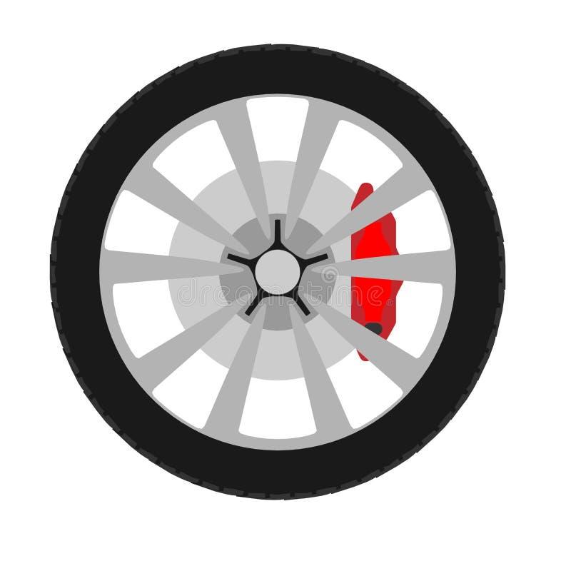 Tecken för bil för utrustning för hjulbiltransport Plan vektorreparationssymbol stock illustrationer