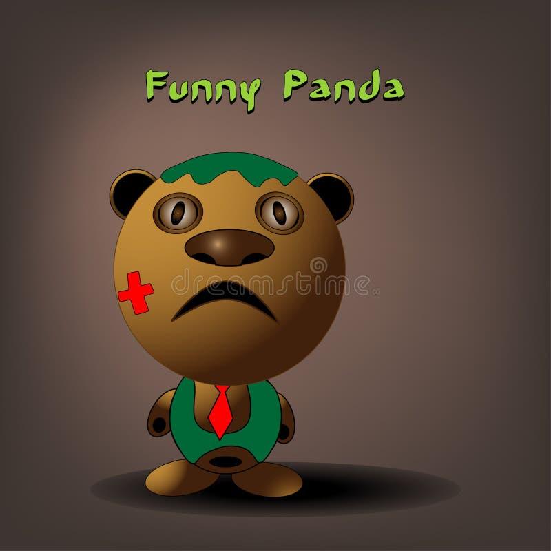 Tecken för björn för panda för vektorlägenhetstil för animering eller illustration för bok för barn` s Gullig pandabjörn som sitt stock illustrationer