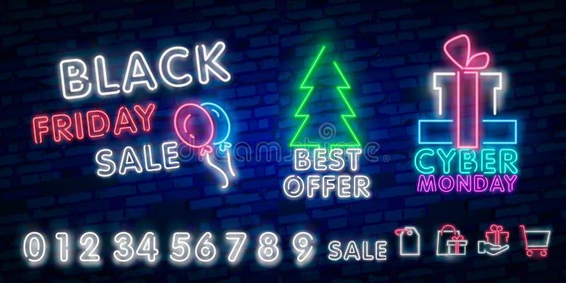 Tecken för Black Friday försäljningsneon, neonbaner, bakgrundsbroschyr Det glödande neontecknet, den ljusa glödande advertizingen royaltyfria bilder
