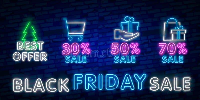 Tecken för Black Friday försäljningsneon, neonbaner, bakgrundsbroschyr Det glödande neontecknet, den ljusa glödande advertizingen arkivfoton