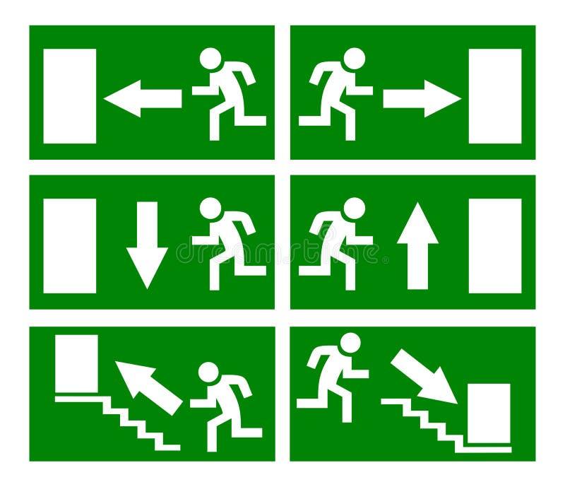 tecken för brand för nödlägeutgång stock illustrationer
