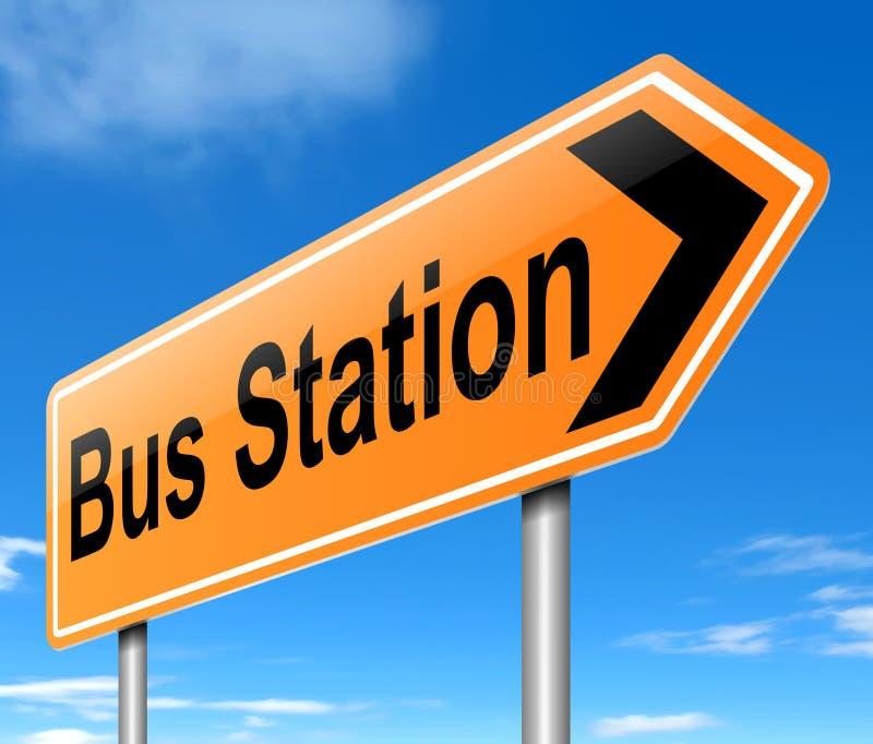 Tecken för bussstation. stock illustrationer