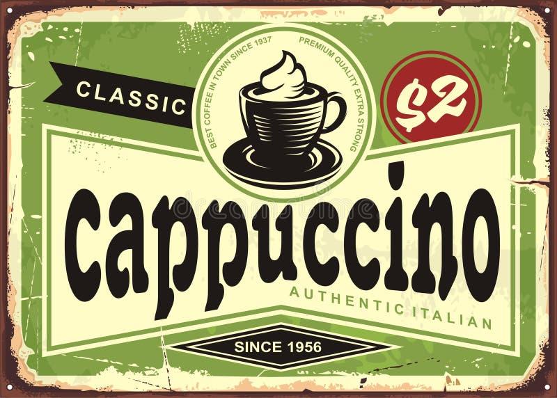 Tecken för cappuccinotappningkafé på gammal metallbakgrund royaltyfri illustrationer