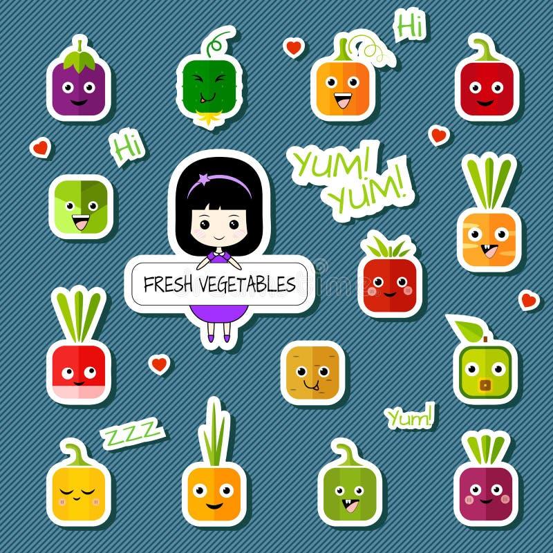 Tecken för Chibi flicka- och fyrkantgrönsak - uppsättning royaltyfri illustrationer