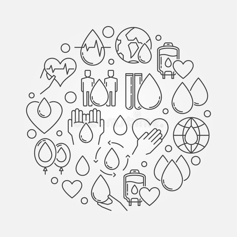 Tecken för cirkulär för bloddonation royaltyfri illustrationer