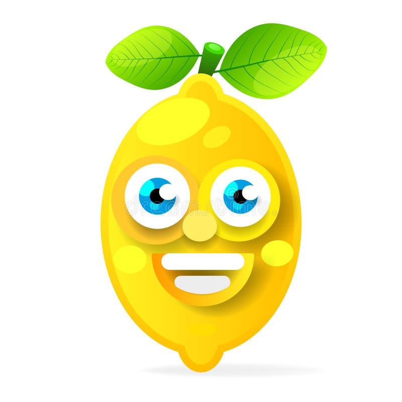 Tecken för citronfrukttecknad film som isoleras på vit bakgrund royaltyfri illustrationer