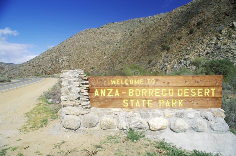 Tecken för den Anza-Borrego ökendelstatsparken, Kalifornien arkivfoto