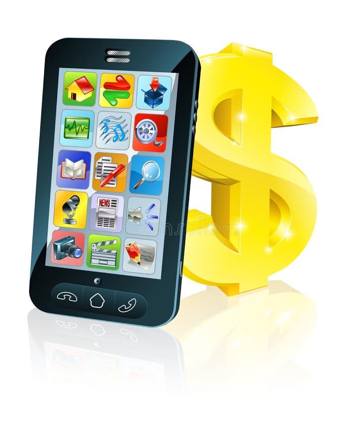 Tecken för dollar för celltelefon och guld vektor illustrationer