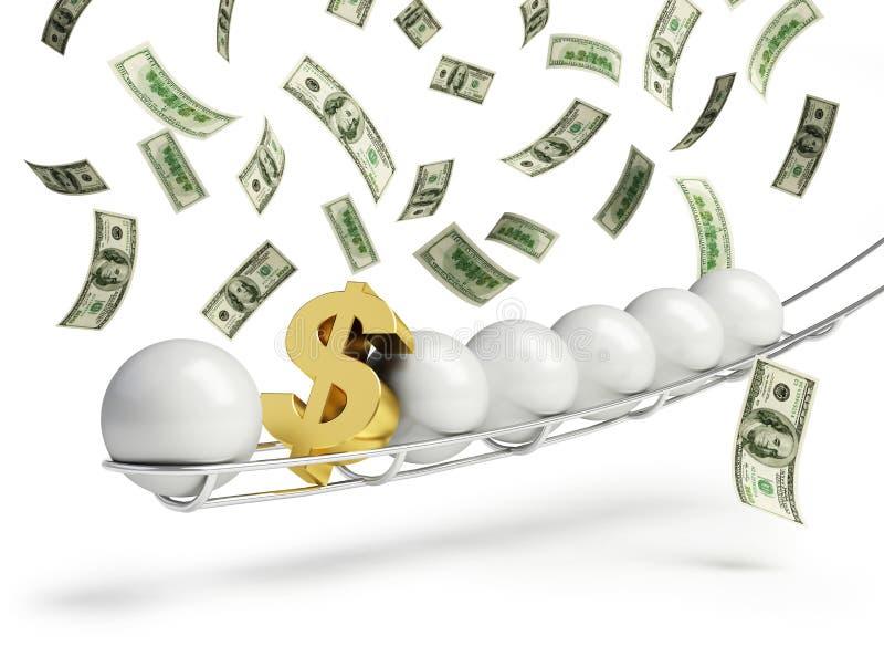 Tecken för dollar för Lottobollguld royaltyfri illustrationer