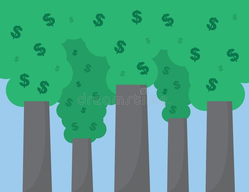 Tecken för dollar för rökbuntar royaltyfri illustrationer