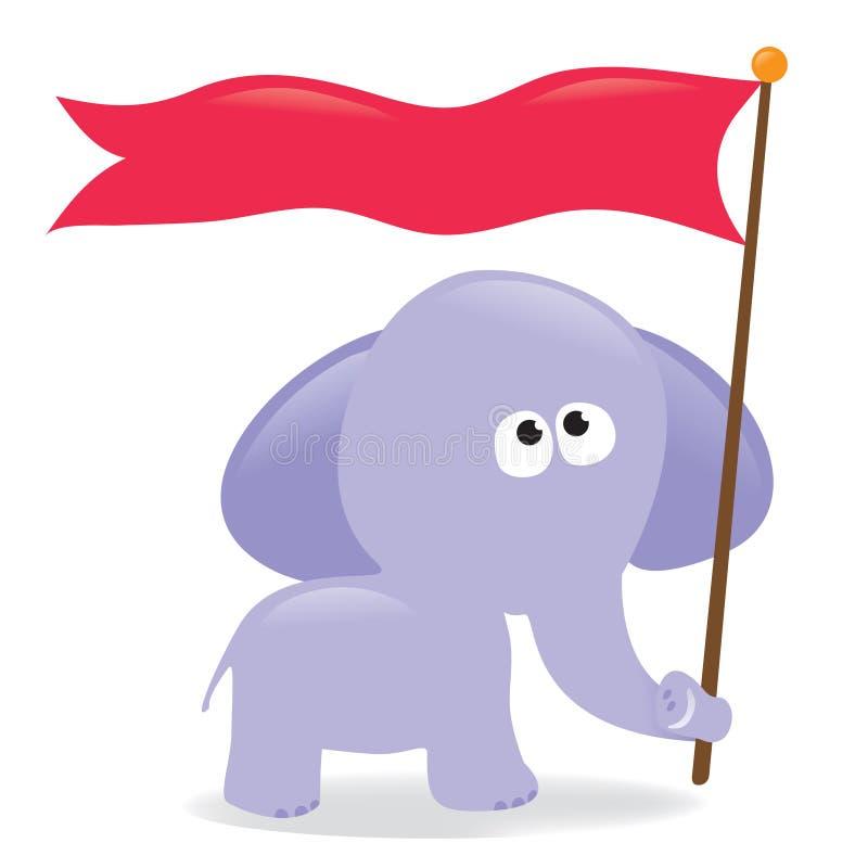 tecken för elefantflaggaholding stock illustrationer