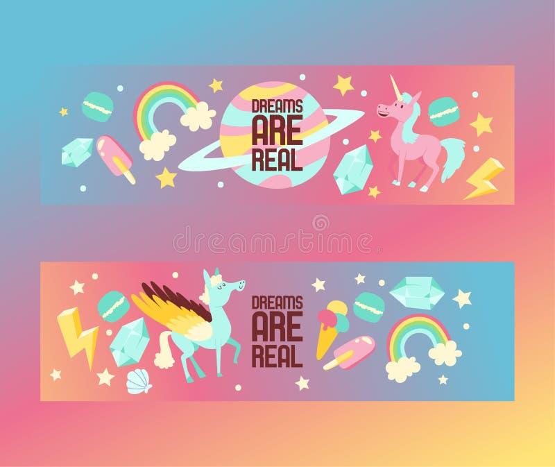 Tecken för enhörning för tecknad film för ungedrömvektor av den flickaktiga hästen med horn- och färgrik icecream för hästsvansre stock illustrationer