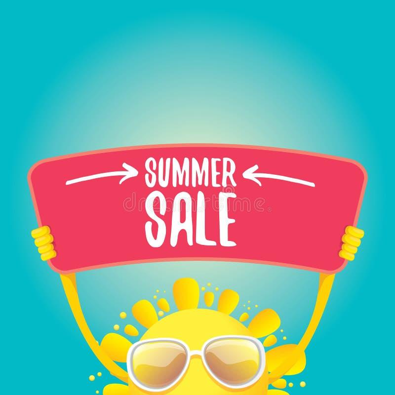 Tecken för erbjudande för försäljning för lycklig sol för vektorsommar hållande royaltyfri illustrationer