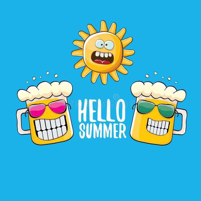 Tecken för exponeringsglas för öl för vektortecknad film skraj och sommarsol som isoleras på blå bakgrund Hello sommartext och sk stock illustrationer
