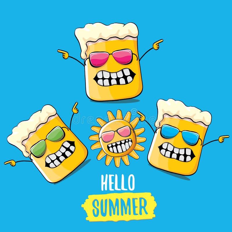 Tecken för exponeringsglas för öl för vektortecknad film skraj och sommarsol som isoleras på blå bakgrund Hello sommartext och sk royaltyfri illustrationer