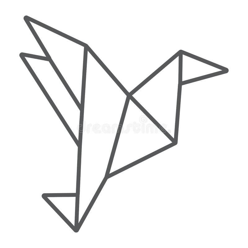 Tecken för fågel för linje för origami tunt symbol, geometriskt och asiatiskt pappers-, vektordiagram, en linjär modell på en vit royaltyfri illustrationer