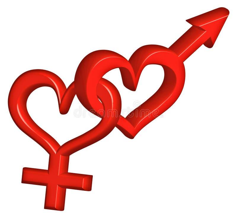 tecken för förälskelse för pargenus heterosexuellt stock illustrationer